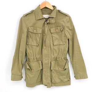 J. Crew Military Green Cotton Hooded Light Jacket